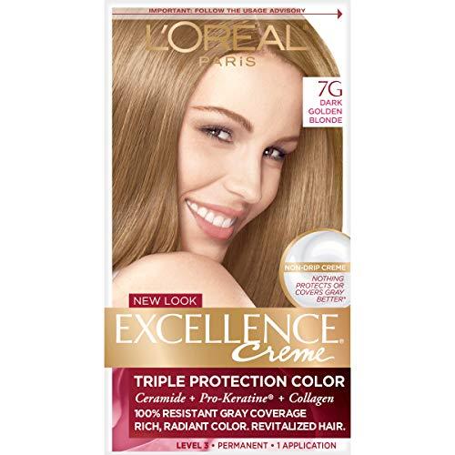 Golden Blonde Kit - L'Oréal Paris Excellence Créme Permanent Hair Color, 7G Dark Golden Blonde, 1 kit 100% Gray Coverage Hair Dye