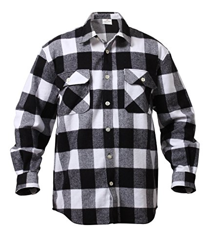 EXTRA HEAVYWEIGHT BRAWNY FLANNEL SHIRTS (Medium, White/Black)