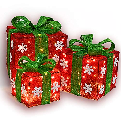 Namotu Lighted Box Set Decor - Set of 3 Christmas Lighted Red and Green Gift Box Christmas Decorations Yard/Home Décor Small/Medium/Large