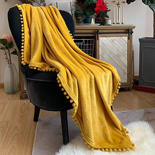 LOMAO Flannel Blanket with Pompom Fringe Lightweight Cozy Bed Blanket