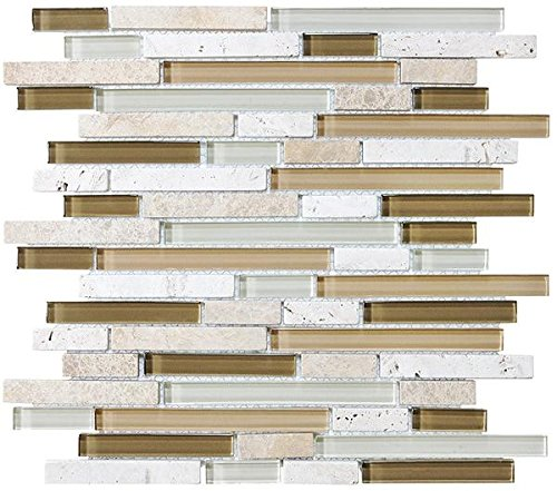 1 Square Foot - Bliss Bamboo Stone and Glass Linear Mosaic Tiles by Rocky Point Tile