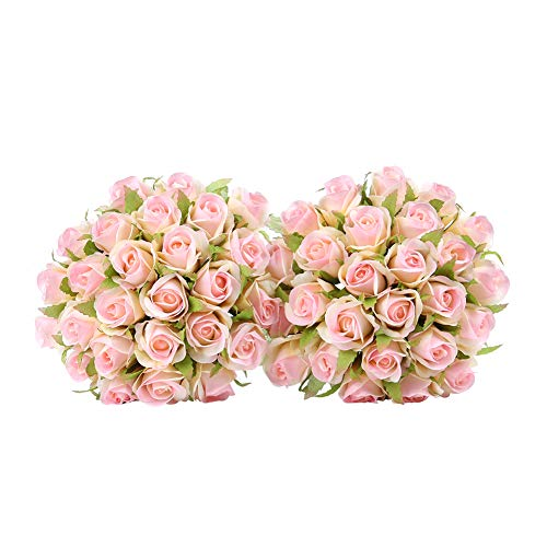 Easin Wedding Flower Artificial Flowers for Room Home Hotel Party Event Decoration Silk Mini Rose Bud 2 Set ()