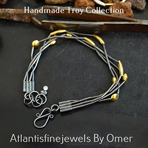 Sterling Silver 2 Color Oxidized & Plated Multi Strand Troy Bracelet