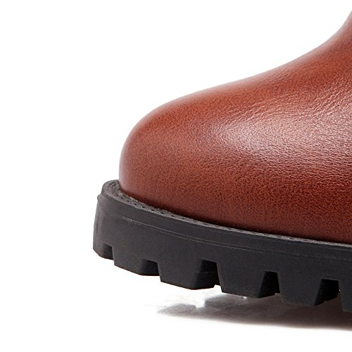 Road Leather Firm Boots Womens Ground Smooth Toe 1TO9 Heels Brown MNS02099 Zip High Closed Warm Lining Urethane Waterproof Boots High Top 7FCqBPw