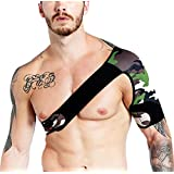 Adjustable Single Shoulder Brace Shoulder Support Strap Wrap Belt Band Pad for Rotator Cuff Dislocated AC Joint Pain Relieve Christmas Gift for Men and Women - Left