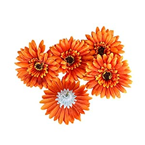 "Summer Flower Artificial Silk Chrysanthemum 4"" Gerberas Daisy Flower Head Sunflower for Wedding Home Party Decoration Hair Clip Wreath Decorative,Pack of 20 (Orange) 107"