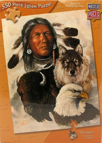 Master Pieces One Spirit 550 Piece Jigsaw Puzzle - Native American, Wolf Eagle, Buffalo