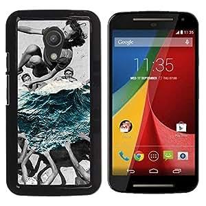 YOYOYO Smartphone Protección Defender Duro Negro Funda Imagen Diseño Carcasa Tapa Case Skin Cover Para Motorola MOTO G 2ND GEN II - rasgar el mar e ir a nadar