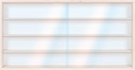Scala N e H0 Alsino V90.4 Vetrina espositiva 90 x 39 x 8,5 cm Collezionismo in legno di betulla non trattato 4 ripiani 2 ante plexiglass scorrevoli Modellismo