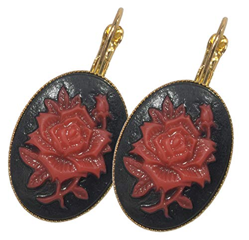 - ViciBeads Earrings, Gothic Red Rose Acrylic Cameo Gold Plated Cabochon Leverback Earring B AG