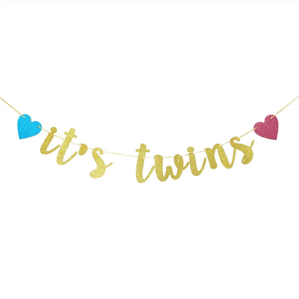 INNORU It's Twins Banner - Gold Glitter Baby Shower Bunting Gender Reveal Party for Babies Twin Decorations Supplies