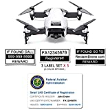Mavic Air - FAA Drone Identification Bundle - Labels (3 Sets of 3) + FAA UAS Registration ID Card for Hobbyist Pilots