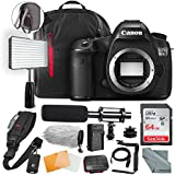 Canon EOS 5DS R DSLR Camera (Body Only) Complete Premium Video Kit w/64GB + Professional Shotgun Microphone + Pro Video 160 LED Light + Deluxe Accessory Bundle