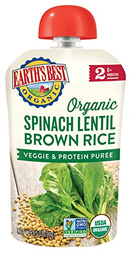 Earth's Best Organic Stage 2 Baby Food, Spinach Lentil and Brown Rice, 3.5 oz. Pouch (Pack of 12) (Earths Best Organic Infant Powder Formula With Iron)