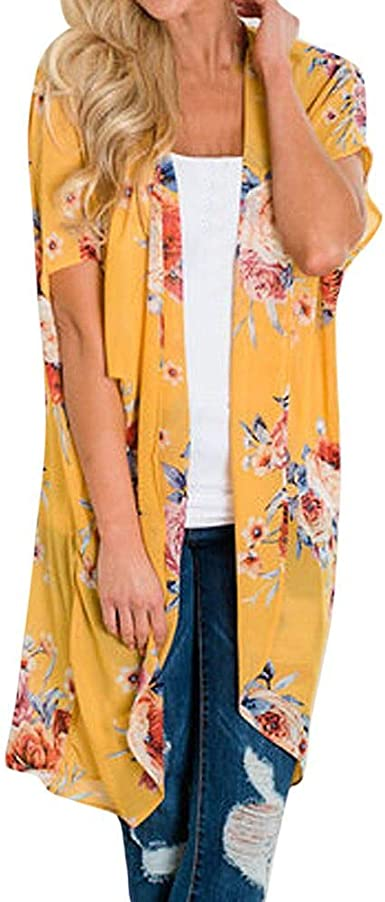 DEELIN Kimono Mujer Moda Chiffon Chal ImpresióN Kimono Cardigan Tapa Arriba Blusa Ropa De Playa: Amazon.es: Ropa y accesorios
