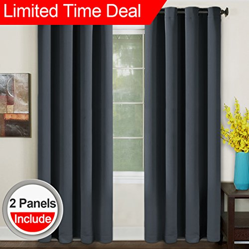 Cheap TEKAMON Blackout Curtains Thermal Insulated Grommet Draperies Room darkening Panels for Living room, Bedroom, Nursery by (W52 X L84, 2 Panels, Dark Gray)