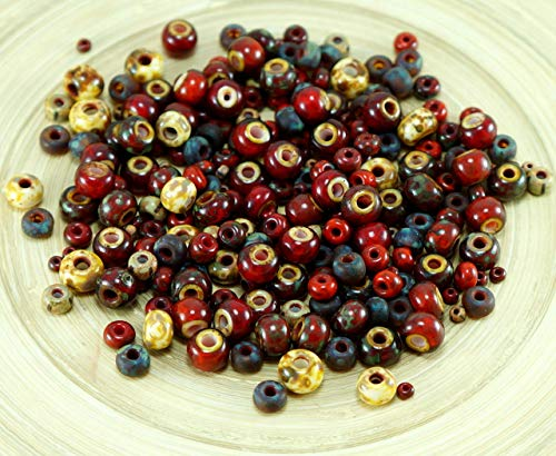 (Anissa Exclusive Picasso Mix Czech Glass Seed Beads Rustic Red Multicolor Striped Rough Aged Tribal 20g)