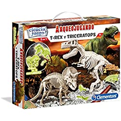 Arqueojugando T-Rex Y Triceratops Fluor