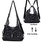 Mlife Soft Washed Leather Women Shoulder Bag Hobo Backpack (Black)