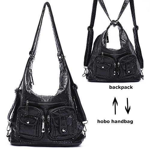 Mlife Soft Washed Leather Women Shoulder Bag Hobo Backpack (Black) by Mlife
