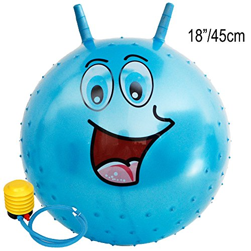 Kids Emoji Bouncy Hoping Ball - Wishtime 18 Inch 45cm Yellow Smile Hopper Ball for Kids Aged 3-6 Sitting Bouncy Ball Kangaroo Jumping Ball Indoor Outdoor Happy Face