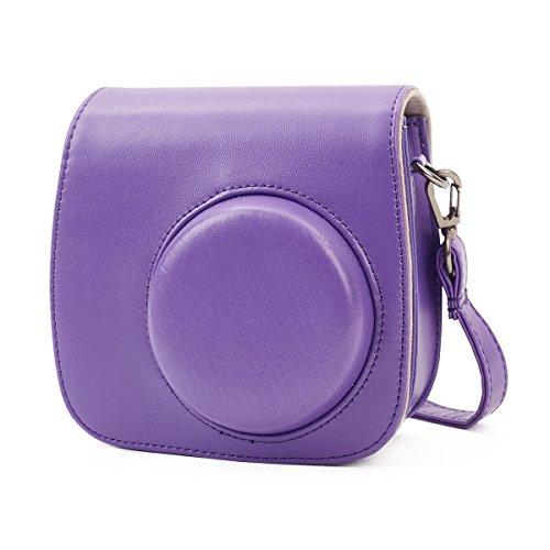 Phetium Soft PU Leather Protective Case with Shoulder Strap and Pocket for Fujifilm Instax Mini 8 8+ / Mini 9 Instant Camera (Purple)