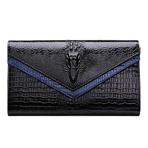 HT Genuine Leather Crossbody Bag - Cartera de mano para mujer Azul