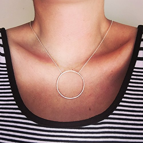 Large Circle Sterling Silver Necklace, Hand-Forged, Choice of Sterling Silver Necklace Length of 16, 18 or 20-inches. (Hand Forged Circle Necklace)