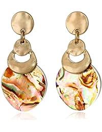 Women's Gold/Abalone Post Drop Earrings