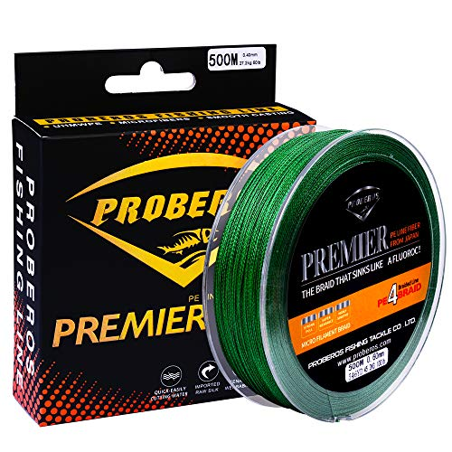 Proberos Braided Fishing Line PE Fiber Fish Line Ultra High Molecular Weight Super Powerful Lines 4 Strands 500M/546YD 6LB-100LB Spool High Sensitivity Zero Stretch Strong Abrasion (100lb, Green) Review