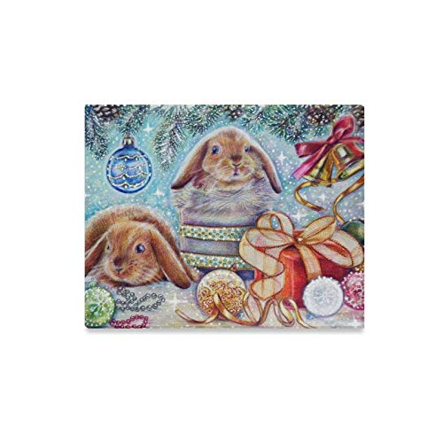 Jnseff Wall Art Painting Winter Christmas Bunny Rabbit Gift Pattern Prints On Canvas The Picture Landscape Pictures Oil for Home Modern Decoration Print Decor for Living ()