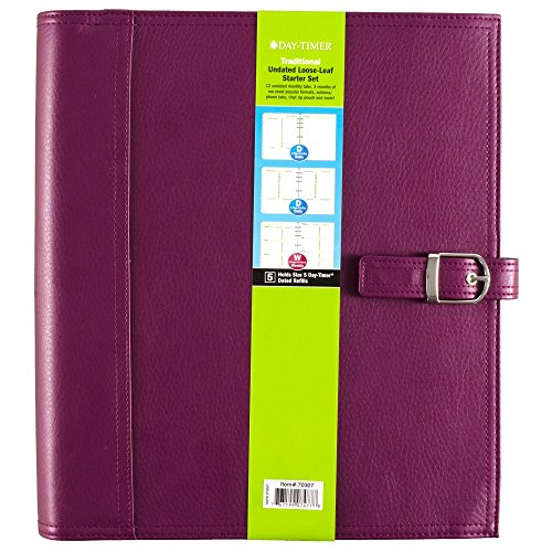 (Day-Timer Undated Loose-Leaf Starter Set, Size 5, Traditional, 8.5 x 11 Inch Page Size, Purple (70307))