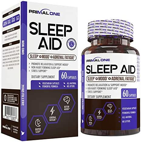 PRIMAL ONE Sleep AID - Non Habit Forming Sleep Support & Adrenal Fatigue Supplement - Stress Relief, Better Mood & Relaxation w/Melatonin, Lemon Balm, More - 60 Natural Veggie Sleeping Pills