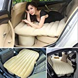 Heavy Duty Multi-functional Car SUV Inflatable Air Mattress Bed Back Seat Cushion With 2 Pillows and Pump For Travel Camping Beach Rest Tour Trip Park Lawn Picnic (Beige)