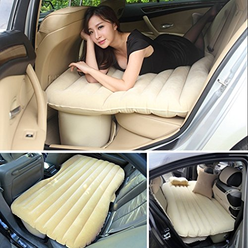Above Wood Beds (Heavy Duty Multi-functional Car SUV Inflatable Air Mattress Bed Back Seat Cushion With 2 Pillows and Pump For Travel Camping Beach Rest Tour Trip Park Lawn Picnic (Beige))