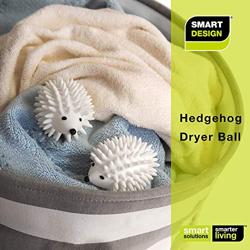 Smart Design Plastic Dryer Balls w/Spikes - Fabric Softener - Eliminates Wrinkles & Reduces Static - for Laundry, Clothes, Fabrics [Hedgehog] (2-Pack)