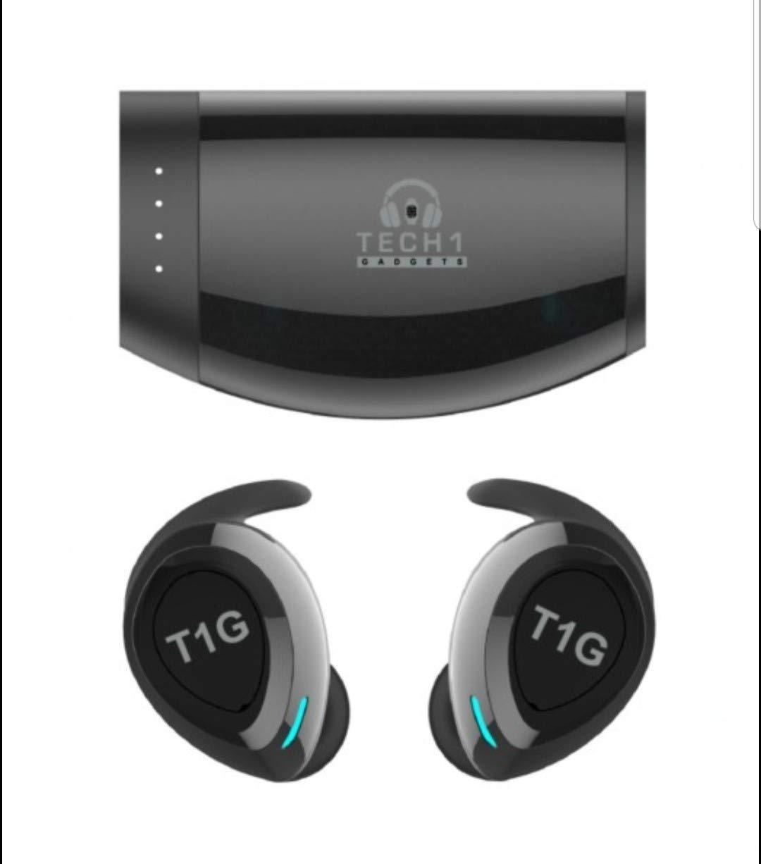 Tech 1 Gadgets TWS True Wireless 5.0 Bluetooth IPX7 Waterproof HD Sound Earbuds. Black