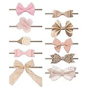 Subesty Soft Nylon Headband Bows For Toddler Baby Girls Infant Newborn (10 pcs baby nylon headband)