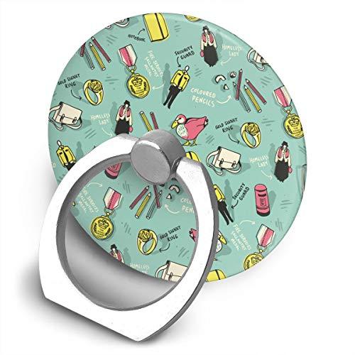 (Cell Phone Finger Ring Holder Living Goods Pattern 360 Degree Rotating Stand Grip Mount Phone Bracket)