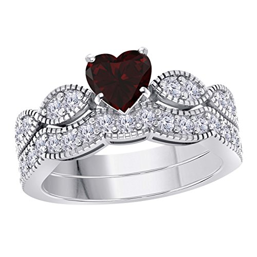 Gems and Jewels 1.00 Ct Created Heart Shape Red Garnet & White Simulated Diamond Milgrain Weave Engagement Wedding Ring Set 14K White Gold Plated ()