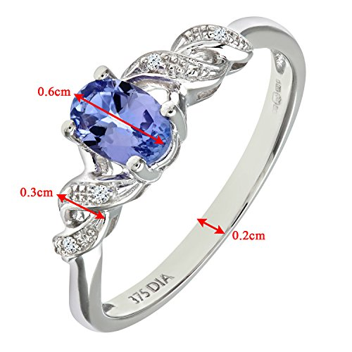 Bague Femme - Or Blanc 375/1000 (9 Cts) 1.4 Gr - Diamant / Tanzanite 0.005 Cts