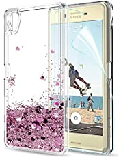 LeYi Case Sony Xperia X Glitter Phone Case met HD film beschermfolie, Cover TPU Bumper Silicone vloeistof drijfzand Clear Cover voor Case Sony Xperia X mobiele telefoon Cases ZX Red Rose Gold