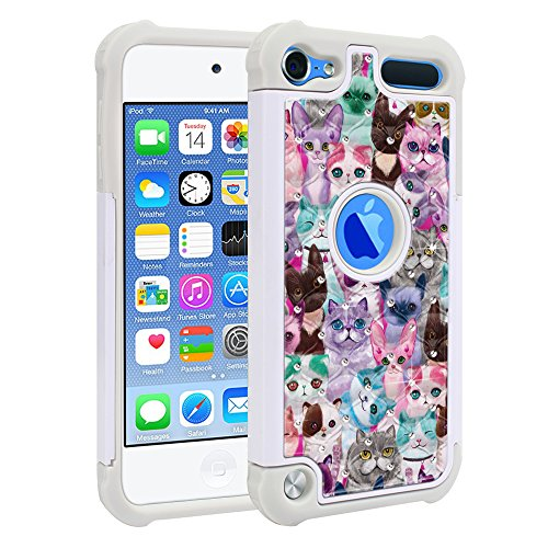 (FINCIBO Case Compatible with Apple iPod Touch 5 6th Generation, Dual Layer Shock Proof Hybrid Protector Case Cover TPU Sparkle Rhinestone Bling for iPod Touch 5 6 - Cat)