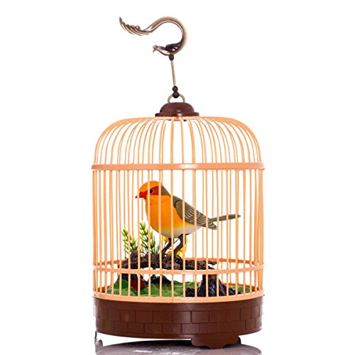 Lucky0604 Electric simulation bird Voice Activate Sound Control Beautiful  Singing & Chirping Bird in Cage Funny Toy Christmas Gift (1)