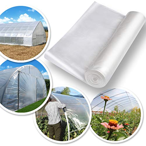 BenefitUSA 12ft X 25ft Clear Plastic Greenhouse Cover 6mil Thicker PE Covering by Benefit-USA