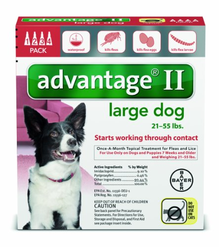 Bayer Advantage II Flea and Lice Treatment for Large Dogs, 21 - 55 lb, 4 doses