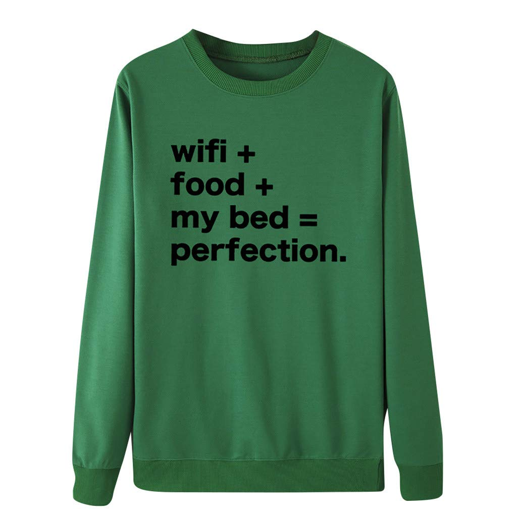 Women Casual Letter Print Long Sleeves Pullover O-Neck Sweatshirt Blouse Tops Green by Badymin