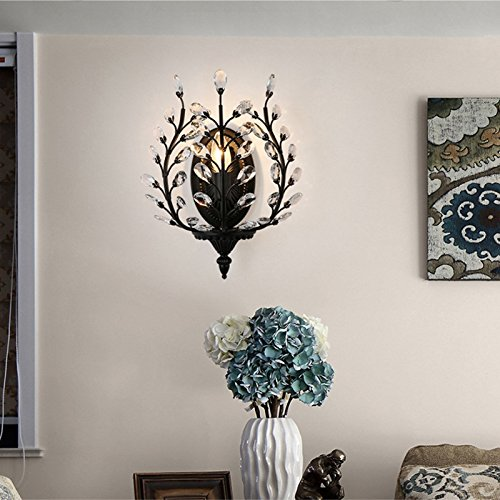 European Luxury Olive Branch Carved Iron Crystal Wall Lamp American Country Living Room Bedroom Bedside Aisle Creative Retro E14 Wall Light (Black / Bronze) ( Color : Black ) by WEID Light (Image #1)