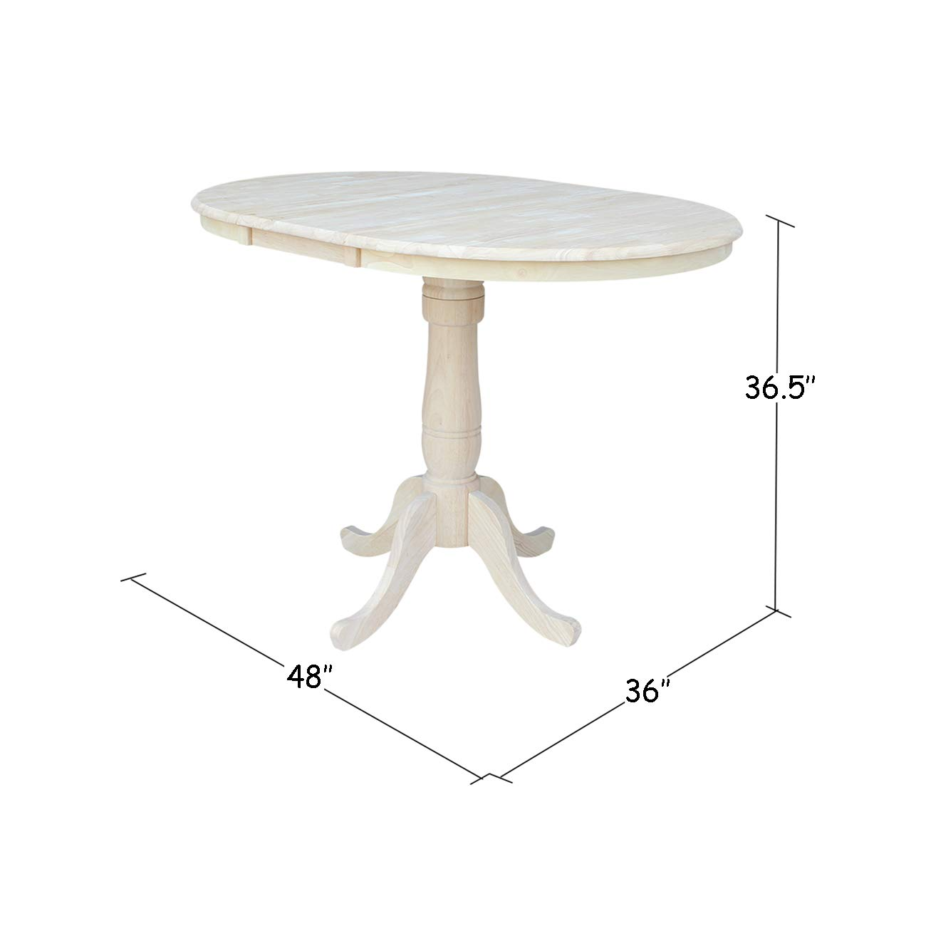 International Concepts 36-Inch Round Extension Counter Height Table with 12-Inch Leaf