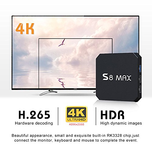 SHENGMO S8 MAX Android TV BOX Android 8.1 Rockchip RK3328 4G Ram 32G Rom 4K USB 3.0 HDR H265 Media Player 2.4G&5G WIFI Bluetooth OTT BOX PK s9 pro